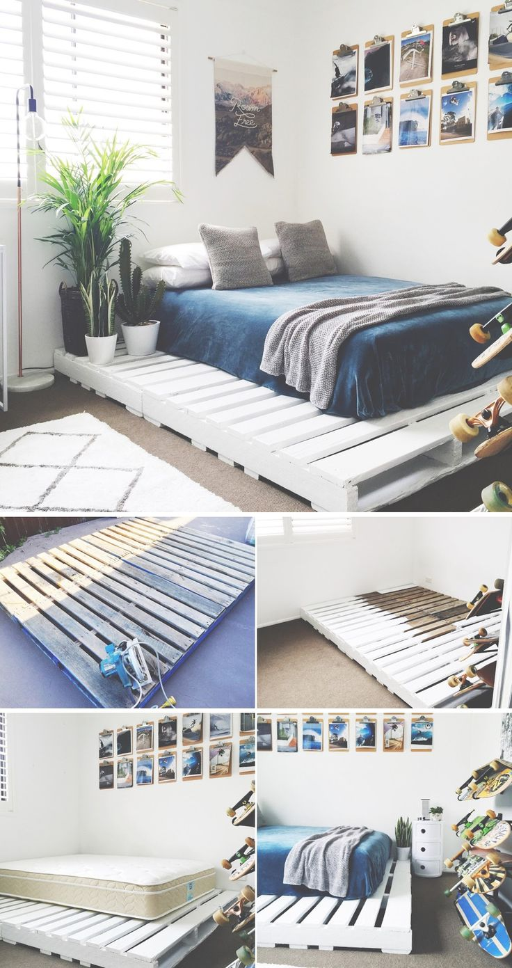 Pallet bed with lights - 15 Diy Bed Frames
