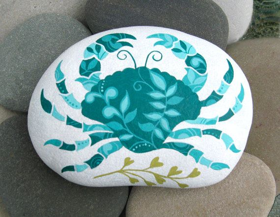 Hand Painted Cape Cod Beach Stone/Whimsical Crab/Unique Paperweight/Coastal Decor/Decorative