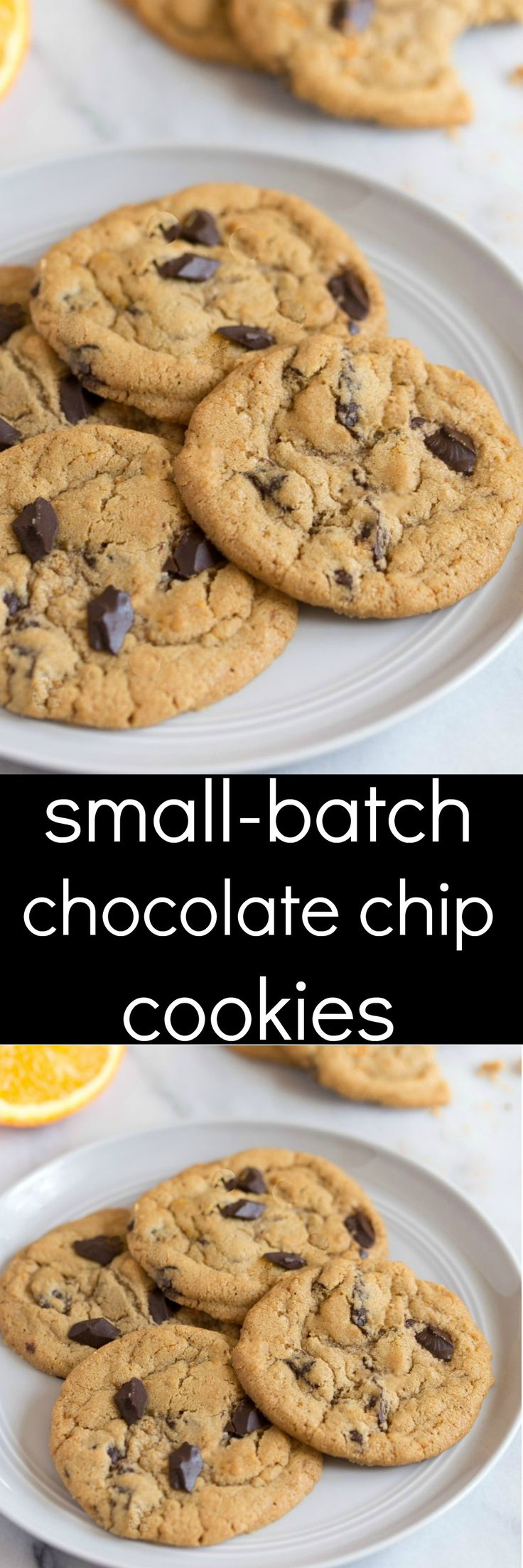 A small batch of chocolate chip cookies. Dessert for two recipes. Half batch cookie recipe