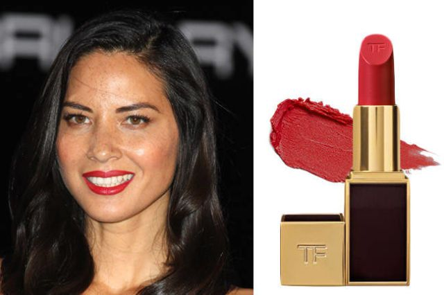 For a shade that will really pop, olive skin beauties should try a pinkish red like this creamy Tom Ford pick. Tom Ford Beauty Lip Color in Cherry Lush, $49; neimanmarcus.com   - ELLE.com