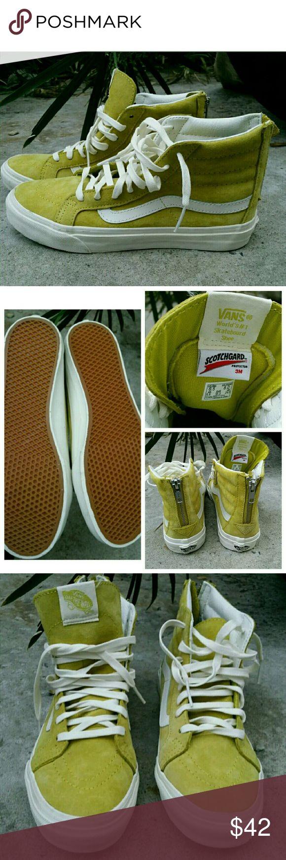 VANS SK8 Hi Slim  (Scotchgard) Sunshine Yellow 8 VANS SK8 Hi Slim Zip (Scotchgard) Sunshine Yellow Casual Shoes WOMEN'S SIZE 8  Like new Vans Shoes Sneakers