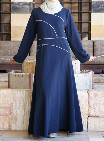 Long-sleeve Bias-Trim dress from SHUKR Islamic Clothing