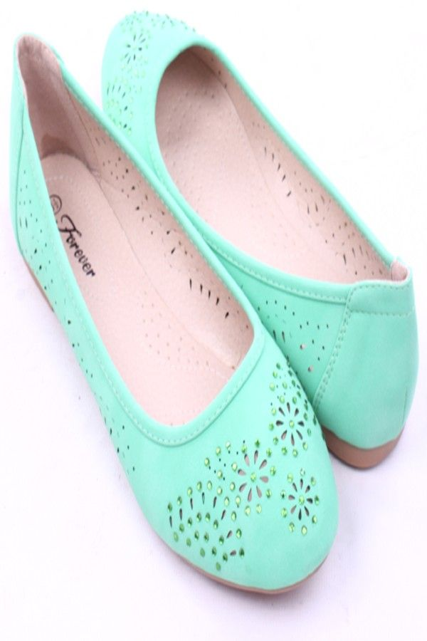 MINT FAUX LEATHER EYELET RHINESTONES BALLET FLATS,Womens Flat Shoes-Womens  Cute Flat,