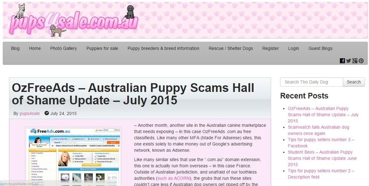 Another month, another site in the Australian canine marketplace that needs exposing - in this case OzFreeAds .com.au free classifieds. Like many other MFA (Made For Adsense) sites, this one exists solely to make money out of Google's advertising network, known as Adsense.