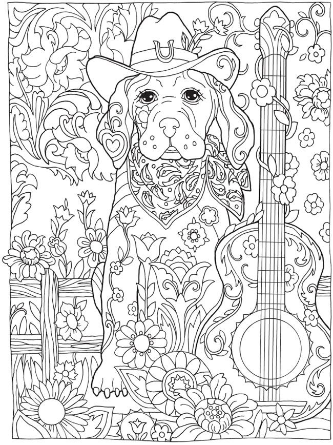 Coloring Pages: Be Dazzled with these cute Dog and more handsome Dogs......from the Coloring Book: Creative Haven Dazzling Dogs Coloring Book. Try a view or buy the book at my favorite Publisher Dover Publications!
