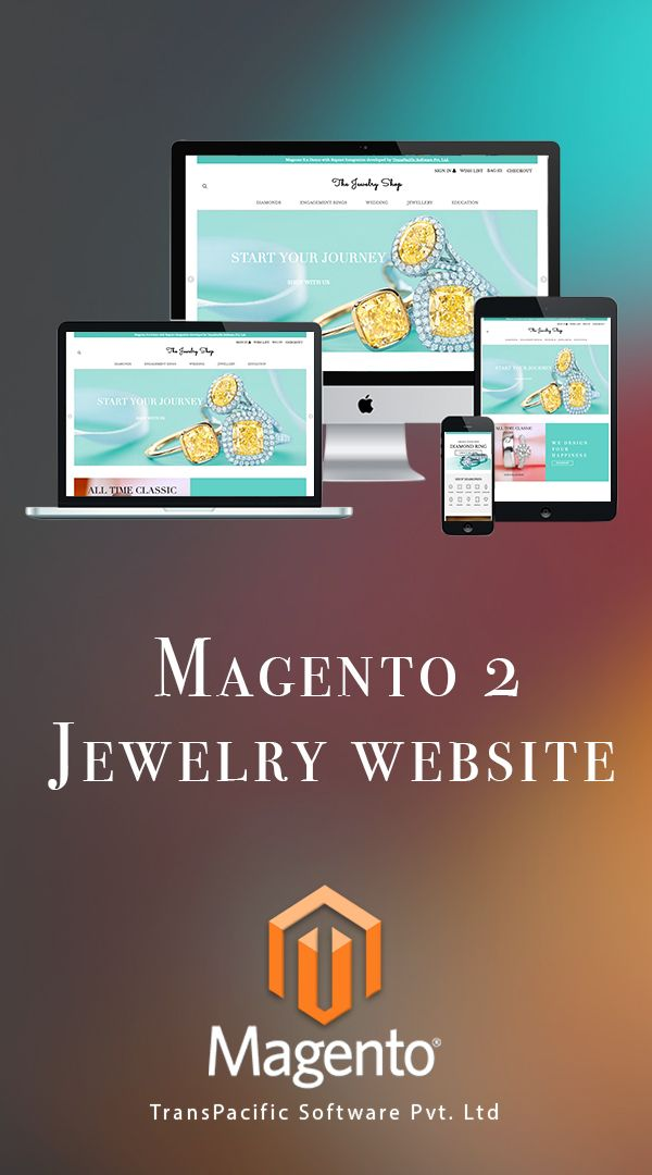 Beautiful e-commerce website developed with Magento 2 by TransPacific Software Website has advanced features including Build a Ring, Rapnet diamond database integration, ready to wear jewellery