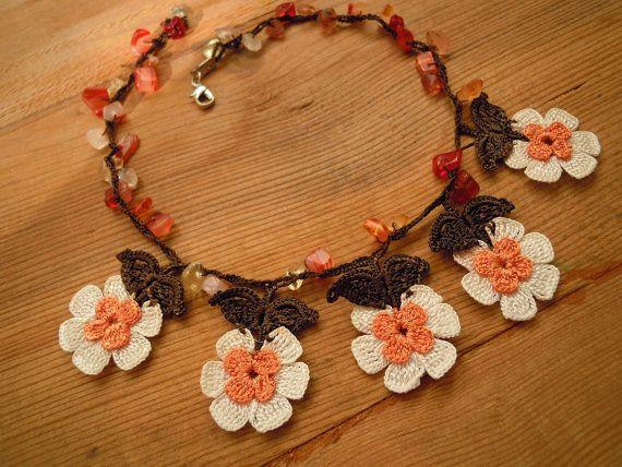 crochet flower necklace short brown white orange by PashaBodrum
