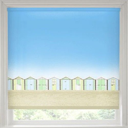 Beach Huts Roller Blind, Quality Made to Measure
