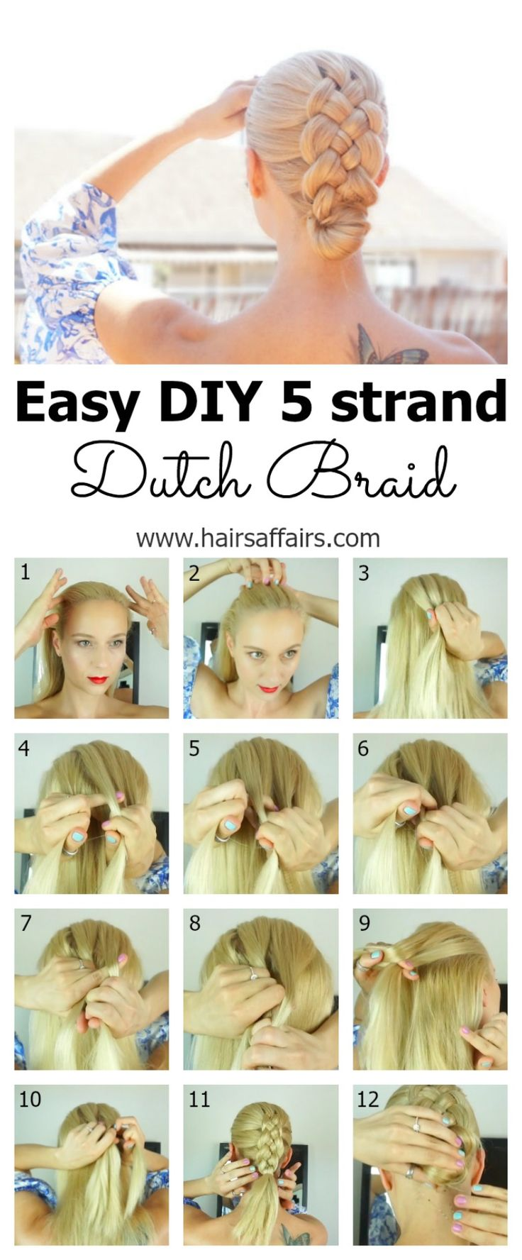 FIVE STRAND DUTCH BRAID MADE EASY – DIY TUTORIAL https://hairsaffairs.com/five-strand-dutch-braid-made-easy/