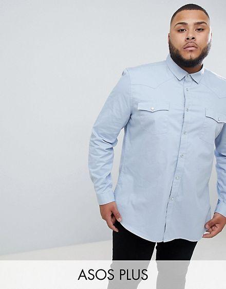 2097956c0d7 ASOS DESIGN plus slim fit western shirt in blue