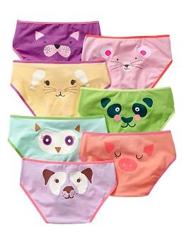 In the world of girls underwear, it is virtually impossible to find a package without any pink or girly graphics. These animal faces are about as good as it gets! From Gap, sizes 6-14.