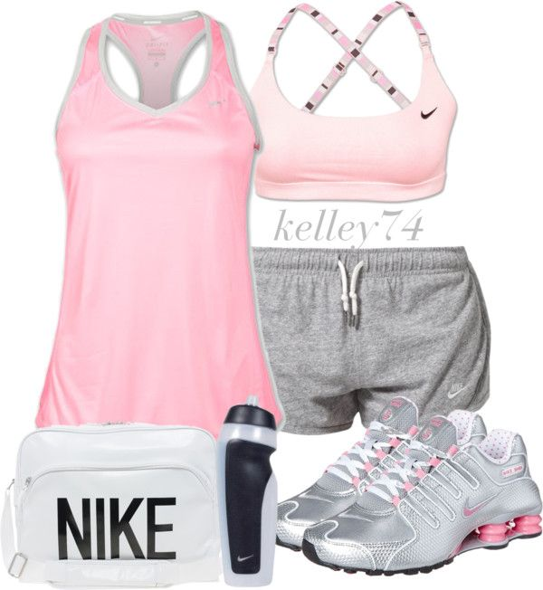 """""""Just Doin' It w/ Nike"""" by kelley74 ❤ liked on Polyvore #workout #clothes   Love it!"""