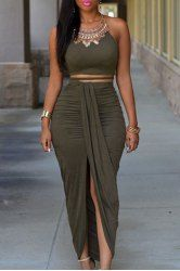 Sexy Spaghetti Strap Tank Top + High-Waisted Asymmetrical Skirt Twinset For Women (OLIVE GREEN,ONE SIZE(FIT SIZE XS TO M)) | Sammydress.com Mobile