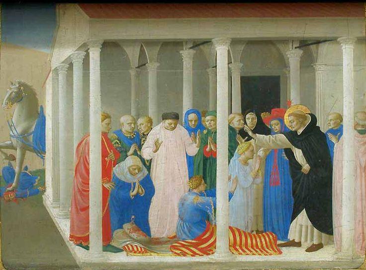 Fra Angelico, predella dell'incoronazione della vergine del louvre, storie di san domenico, 1434-35  No 02 resurrezione di napoleone orsini.