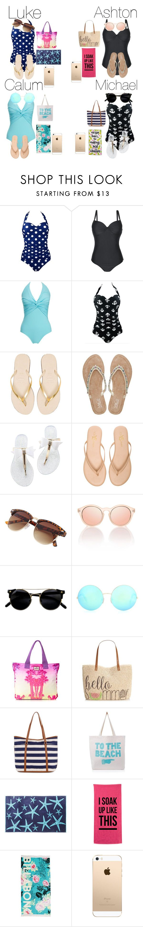 """Beach outfit w 5sos"" by sophiestarxx ❤ liked on Polyvore featuring Melissa Odabash, Havaianas, M&Co, Yosi Samra, Victoria Beckham, Superdry, Style & Co., Accessorize, ALPHABET BAGS and Billabong"