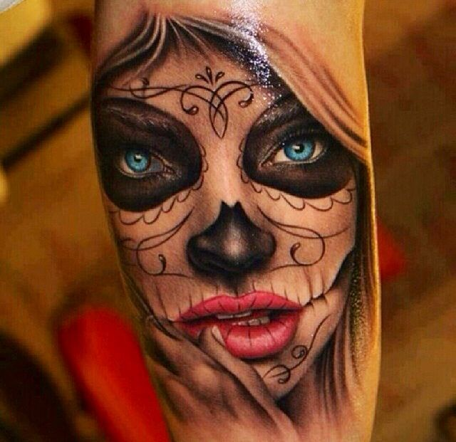 Color day of the dead tattoo