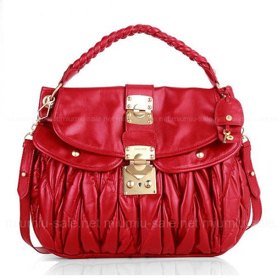 cc5b19ed822a Miu Miu Red Matelasse Soft Lambskin Leather Bags