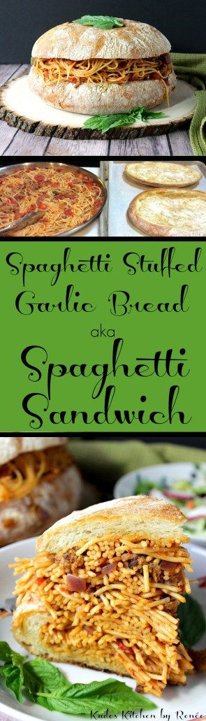 Spaghetti Stuffed Garlic Cheese Bread aka Spaghetti Sandwich