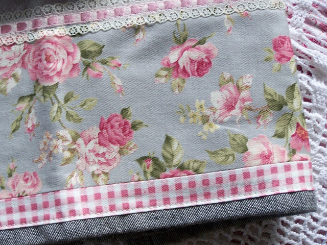 Shabby pink roses on a grey tea towel. by Created by Cath., via Flickr