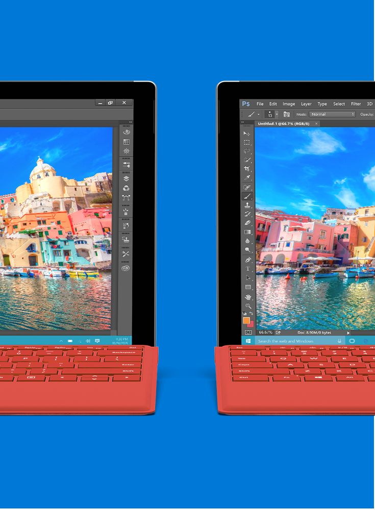 The Surface Pro 4's PixelSense™ display has extremely high contrast and low glare, giving you a picture rivaling real life.