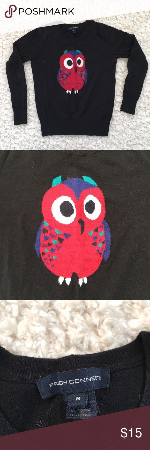 French Connection Owl Sweater Super cute owl sweater. Black base color. Hoot hoot! 🦉 French Connection Sweaters Crew & Scoop Necks