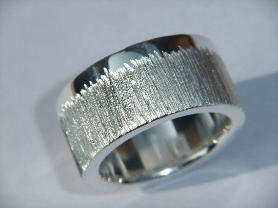 925 Sterling Silver Chunky Ring with Sparkly Etch Design Personalised Band via Etsy