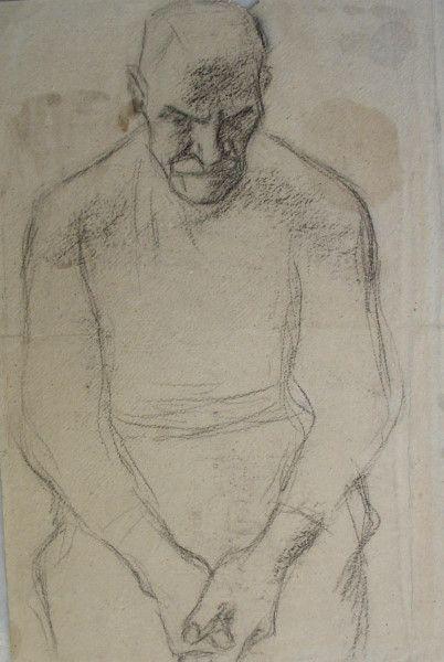 Albin Egger-Lienz – TISCHGEBET. Studie zum Bauern, um 1920/21