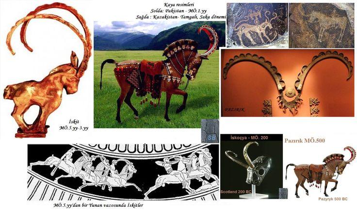 """Atlara takılan boynuzlu başlıklar, halk arasında """"tek boynuzlu at"""" efsanesini doğurmuştur. Kazakistan'ın 1500 kadar farklı bölgesinde kaya resimleri var. Tamgalı ise 1957 den beri tanınıyor, 2004 yılında UNESCO Dünya Mirası Listesine eklenmiş. Sadece Tamgalı, bin hektarlık alanda çoğu Bronz Çağı'ndan (MÖ.2500) olmak üzere 20.yüzyılın başlarına kadar, 5binden fazla kaya resimlerini barındırıyor. Foto: Saka Türk Dönemi -Tamgalı / Yedisu Bölgesi Unicorn legend was born in this way..."""
