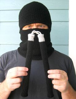 Ninja Hood and Nunchucks Amigurumi by Celina Lane, Simply Collectible Crochet - Keep warm or just for play, Sizes Child to Adult -