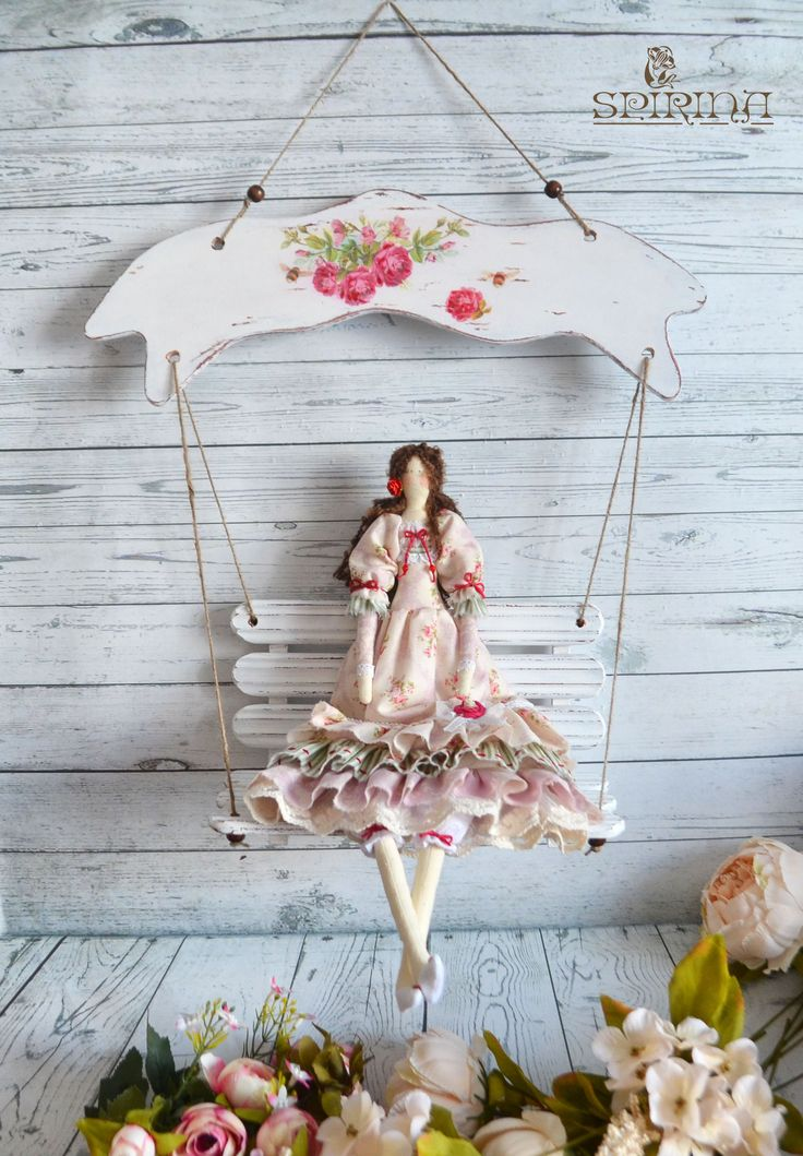 """Set Tilda Doll and Swing  Made with love from 100% cotton new fabrics and stuffed with non-allergenic polyester fiber.  The swing is made of wood and decorated using decoupage technique. They can be wiped with a damp cloth.  The dimensions of the swing: 55Х40 cm (22""""Х16"""") Doll 44 cm (17"""")"""