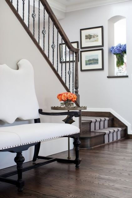 Clean & crisp - stripes up the stairs really ties it together...: Eclectic Design, Idea, Revere Pewter, Entryway Benches, Decoration, Color, Stairs Runners, Stairs Design, Homes