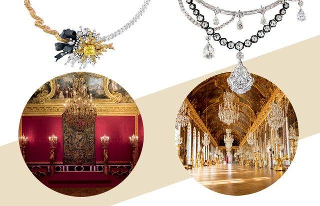Colares com diamantes montados sobre prata oxidada. Abaixo, Salon d'Apollon e Villa Lena (Foto: Shutterstock, Divulgação e Reprodução Instagram)