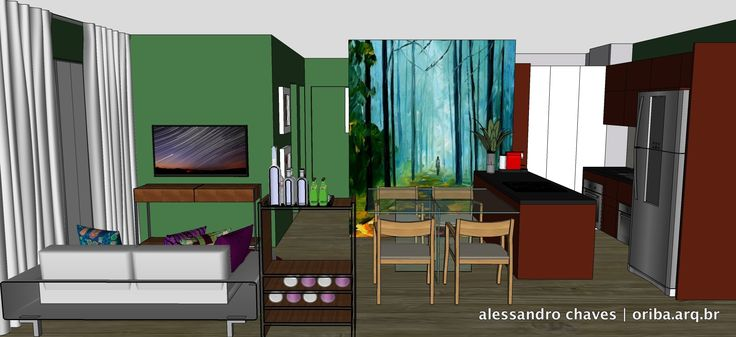 Apto São Paulo | Estar Jantar Cozinha 1. Sofá neutro + Almofadas coloridas + Tapete marcante + Aparador existente + Verde bacana + Imagem adesivada!
