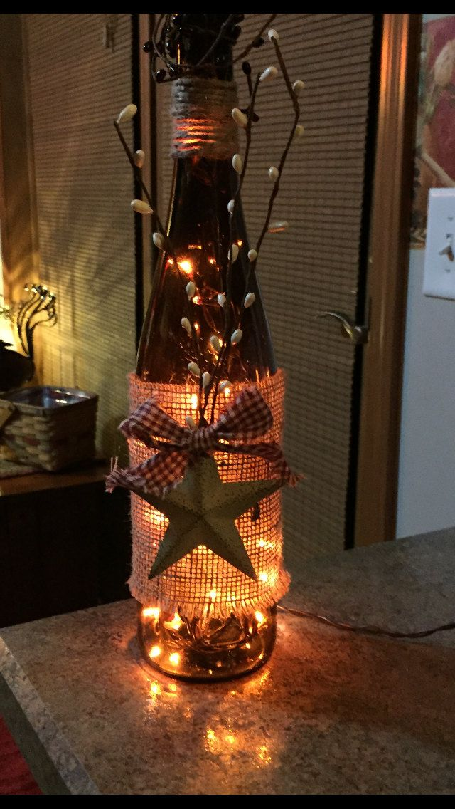 Lighted Wine Bottle With Rustic Star by 51Buttons on Etsy                                                                                                                                                                                 More                                                                                                                                                                                 More