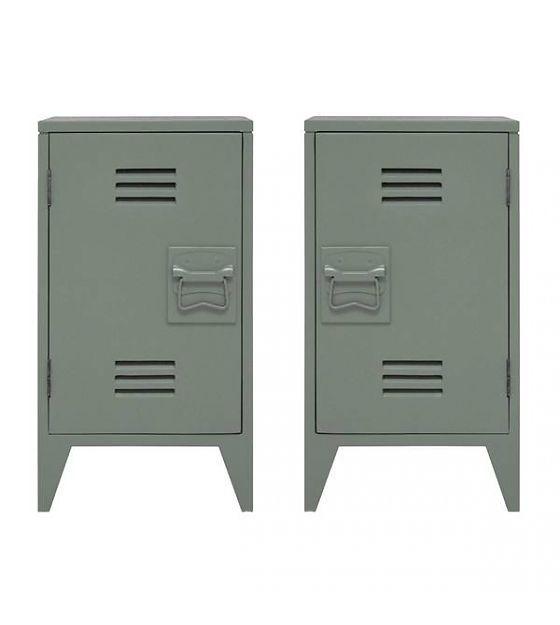 HK-living Nachtkastje locker set van 2 leger groen hout 65x36x33cm - wonenmetlef.nl