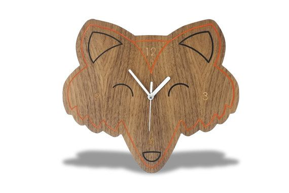 Modern Wooden Fox Kids Wall Clock by EchosWoodDesigns on Etsy