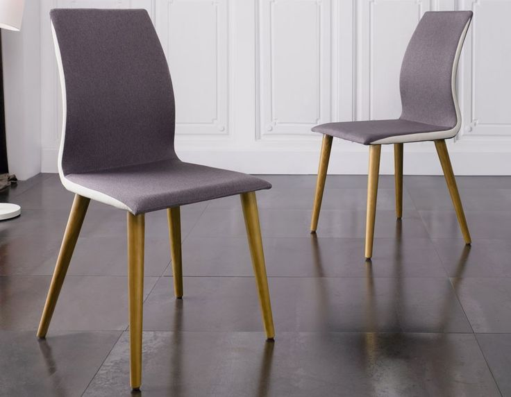 Chaise salle a manger grise en tissu et pieds en bois design MARTHA (lot de 4)