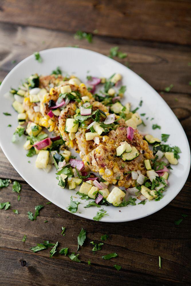 Corn Cilantro Cakes with Roasted Zucchini Salsa