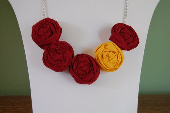 Central Michigan, University of Minnesota, Florida State and Arizona State Rosette NecklaceAccessories Ideas, Favorite Colors, Deviled Baby, Colors Rosette, Maroon Yellow Gold, Maroon And Yellow Clothes, Gameday Necklaces, Rosette Necklaces, Team Colors