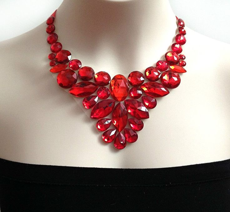 A personal favorite from my Etsy shop https://www.etsy.com/listing/166151557/red-bib-necklace-red-rhinestone