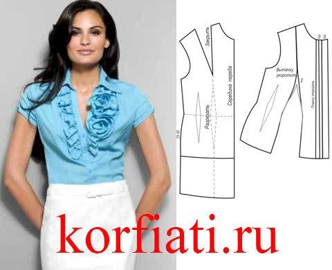 Выкройка блузки с оборками