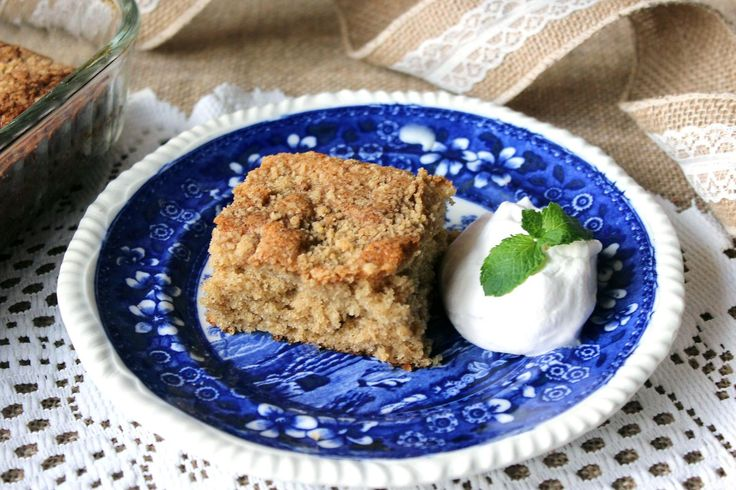 German Streusel Coffee Cake 1953 -  Note: Our wooden spoon was not cooperating, so we used a pastry cutter for the streusel. Worked like a charm. Also, like lots of old-fashioned recipes, the cake pan size was not specified. We baked this in a 9x13 baking dish