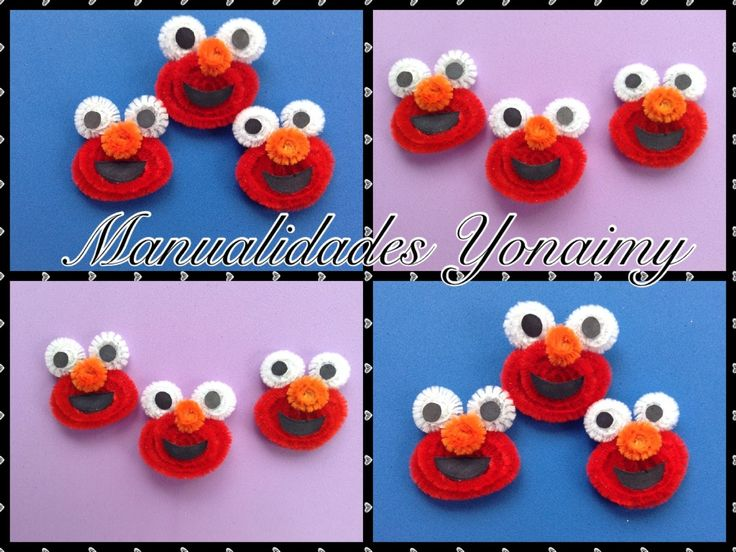 sandylandya@outlook.es  ELMO HECHO CON LIMPIA PIPAS.- PIPE CLEANER ELMO . (+playlist)