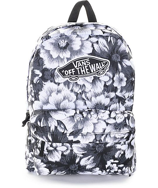 Let your Back to School style blossom with the Vans Realm Mono Floral backpack for girls. Coming in a monochromatic floral print, this mid size backpack features a large main storage compartment with zipper closures and an organizer pouch pocket that is p