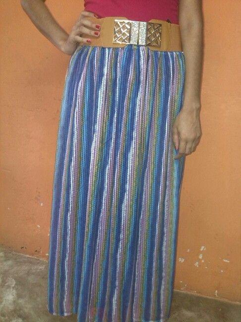 Falda larga en rayas bertical