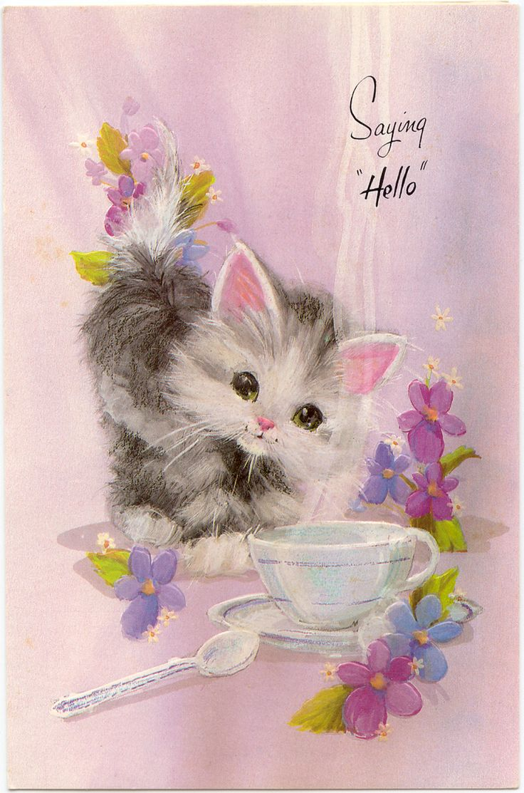 """Saying Hello"" vintage card"