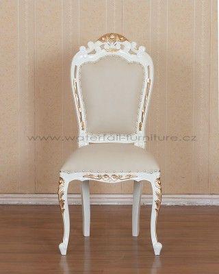 Retro židle Ivory - slonová kost, zlatá