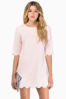 Tobi Sweetly Scalloped Dress in Blush $43