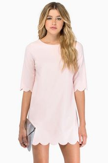 Tobi Sweetly Scalloped Dress in Blush $43