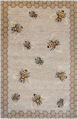Trans Ocean Natural Frontporch Honeycomb Bee Rug Animal Artistry